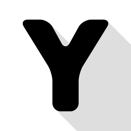 letter y sign design template element black icon with flat style shadow path stock