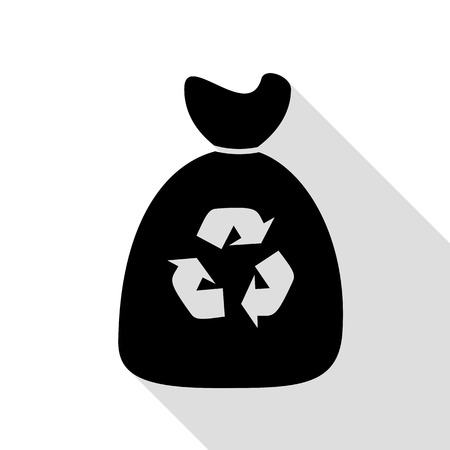 Trash bag icon. Black icon with flat style shadow path.