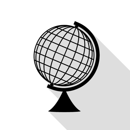 globe  the terrestrial ball: Earth Globe sign. Black icon with flat style shadow path. Illustration