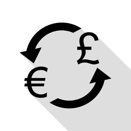 abstract recycle arrows: Currency exchange sign. Euro and UK Pound. Black icon with flat style shadow path.