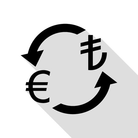 Currency exchange sign. Euro and Turkey Lira. Black icon with flat style shadow path. Illustration
