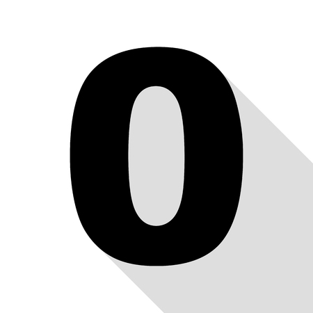 Number 0 sign design template element. Black icon with flat style shadow path.