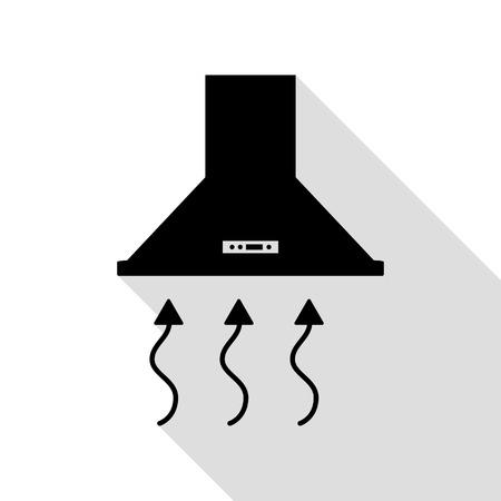 Exhaust hood. Range hood. Kitchen ventilation sign. Black icon with flat style shadow path. Illustration
