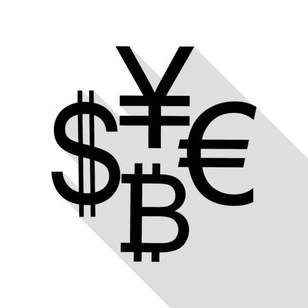 art processing: Currency sign collection dollar, euro, bitcoin, yen. Black icon with flat style shadow path.