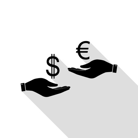 Currency exchange from hand to hand. Dollar adn Euro. Black icon with flat style shadow path. Stock Illustratie