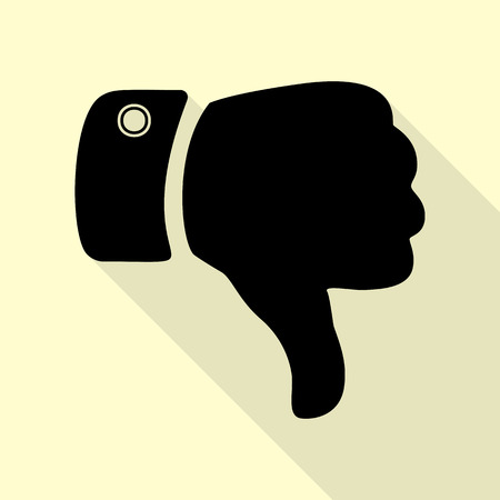 disapprove: Hand sign illustration. Black icon with flat style shadow path on cream background. Illustration