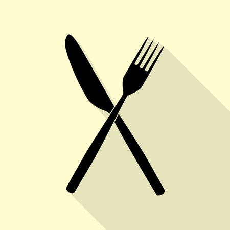 Fork and Knife sign. Black icon with flat style shadow path on cream background.
