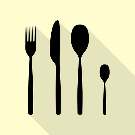 Fork spoon and knife sign. Black icon with flat style shadow path on cream background. Illustration