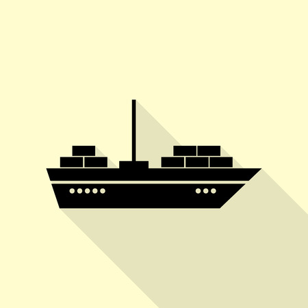 sea tanker ship: Ship sign illustration. Black icon with flat style shadow path on cream background. Illustration