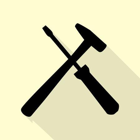 turnscrew: Tools sign illustration. Flat style black icon on white.