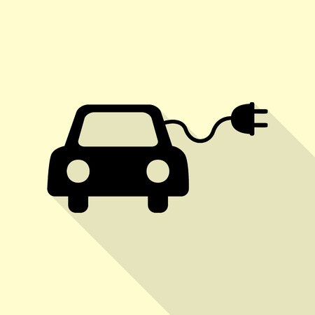 Eco electric car sign. Black icon with flat style shadow path on cream background. Illustration