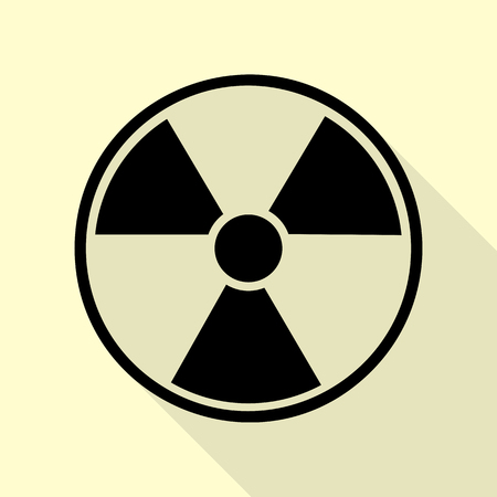 Radiation Round sign. Black icon with flat style shadow path on cream background. Illustration