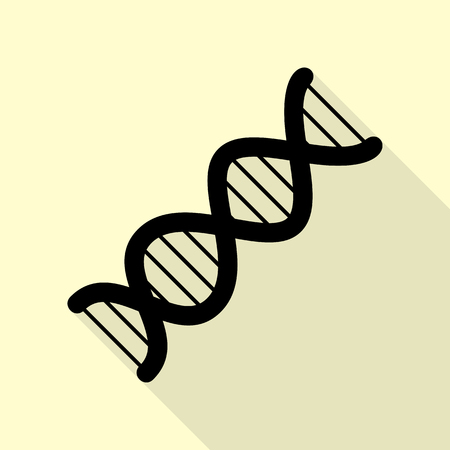 clone: The DNA sign. Black icon with flat style shadow path on cream background.