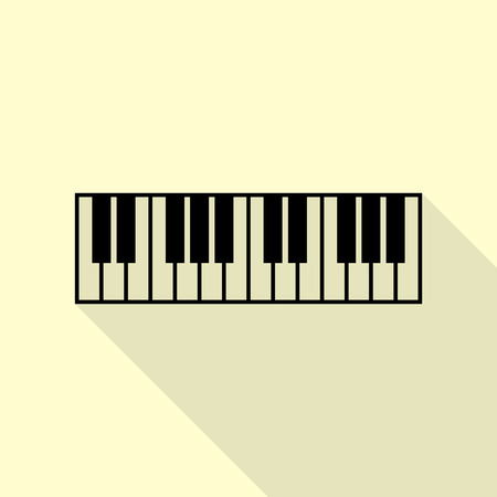 Piano Keyboard sign. Black icon with flat style shadow path on cream background.