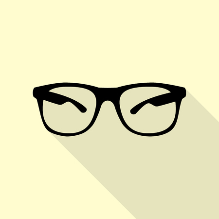 tinted: Sunglasses sign illustration. Black icon with flat style shadow path on cream background.