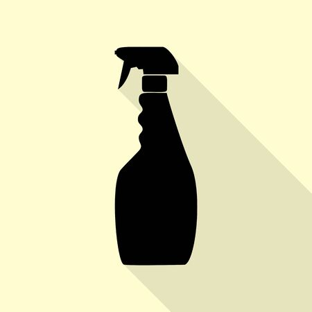 sterilize: Plastic bottle for cleaning. Black icon with flat style shadow path on cream background. Illustration