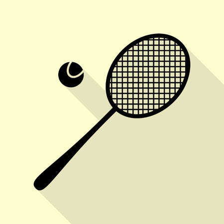 Tennis racquet sign. Black icon with flat style shadow path on cream background.