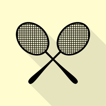 Tennis racquets sign. Black icon with flat style shadow path on cream background. Illustration