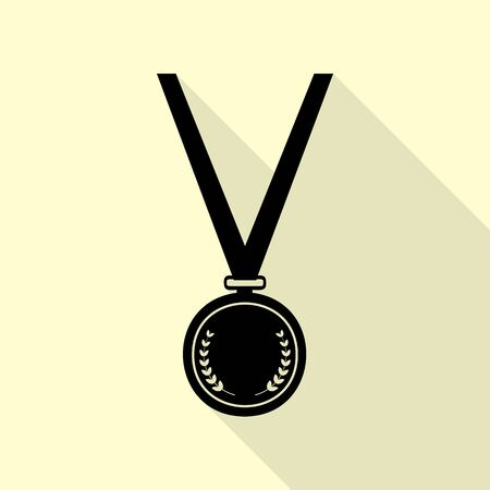 Medal simple sign. Black icon with flat style shadow path on cream background.
