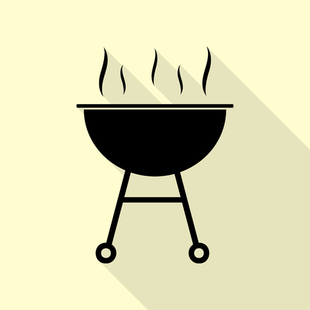 Barbecue simple sign. Black icon with flat style shadow path on cream background.