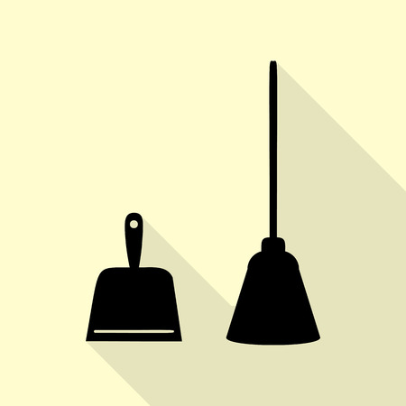 whisk broom: Dustpan vector sign. Scoop for cleaning garbage housework dustpan equipment. Black icon with flat style shadow path on cream background.