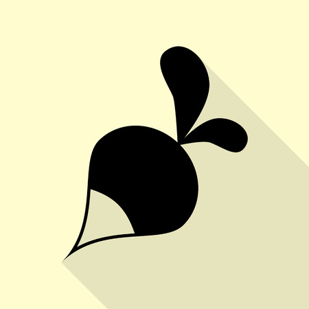 vegatables: Radish simple sign. Black icon with flat style shadow path on cream background.