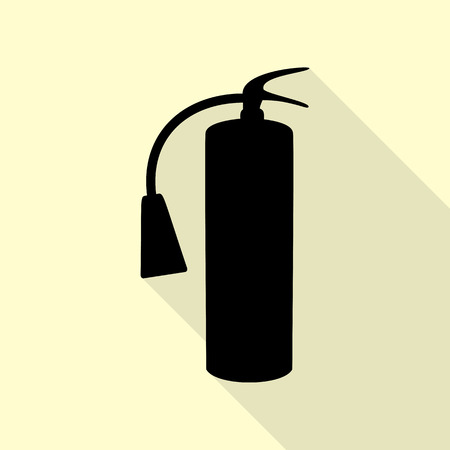 Fire extinguisher sign. Black icon with flat style shadow path on cream background.