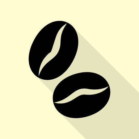 Coffee beans sign. Black icon with flat style shadow path on cream background. Ilustração