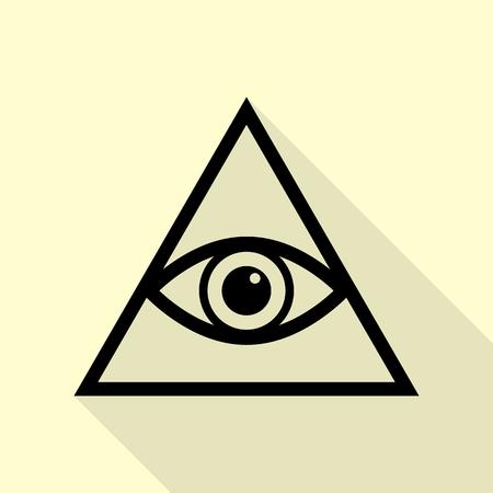 ojo de horus: Todo el símbolo de la pirámide del ojo que ve. Francmasón y espiritual. Icono negro con la trayectoria plana de la sombra del estilo en fondo poner crema. Vectores