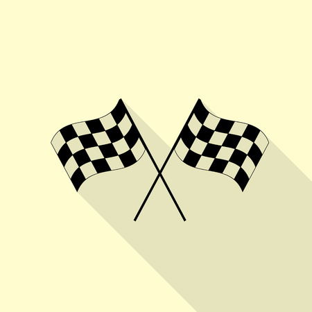 Crossed checkered flags logo waving in the wind conceptual of motor sport. Black icon with flat style shadow path on cream background.