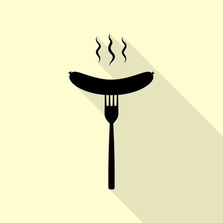 roast lamb: Sausage on fork sign. Black icon with flat style shadow path on cream background. Illustration