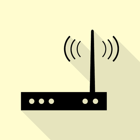 Wifi modem sign. Black icon with flat style shadow path on cream background.