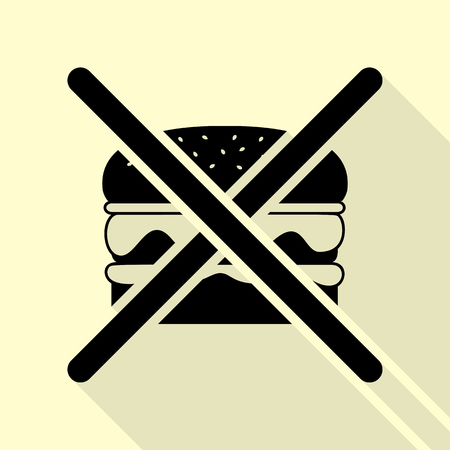No burger sign. Black icon with flat style shadow path on cream background.
