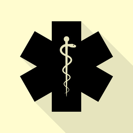 aesculapius: Medical symbol of the Emergency or Star of Life. Black icon with flat style shadow path on cream background. Illustration