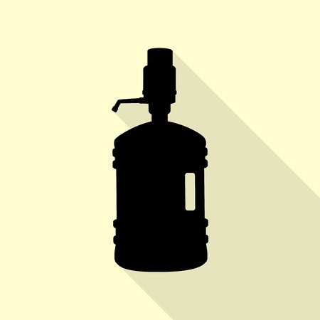 purified: Plastic bottle silhouette with water and siphon. Black icon with flat style shadow path on cream background. Illustration