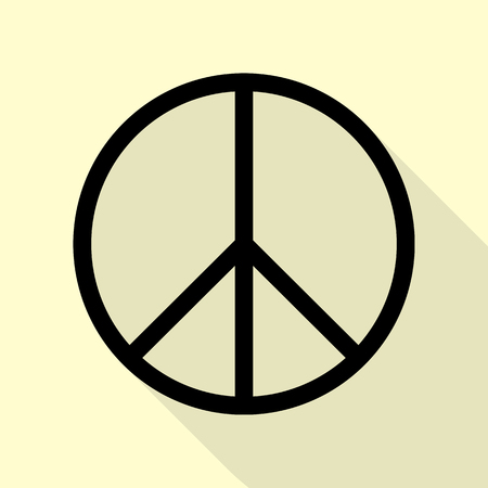 pacificist: Peace sign illustration. Black icon with flat style shadow path on cream background.