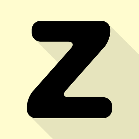 Letter Z Sign Design Template Element Black Icon With Flat Style