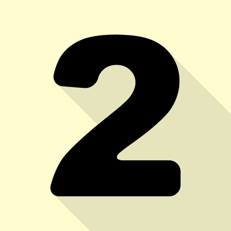 Number 2 sign design template elements. Black icon with flat style shadow path on cream background.