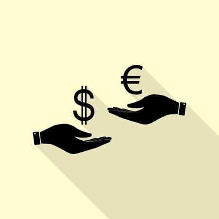 Wisselkantoor van hand tot hand. Dollar adn Euro. Zwart pictogram met vlakke stijl schaduw pad op room achtergrond. Stock Illustratie