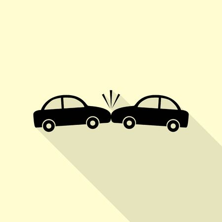 Crashed Cars sign. Black icon with flat style shadow path on cream background. Illustration