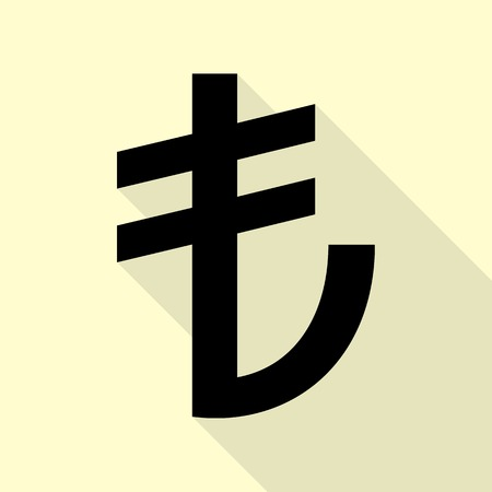 converter: Turkiey Lira sign. Black icon with flat style shadow path on cream background.