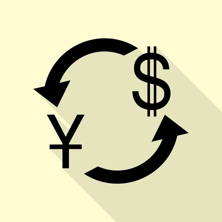 Currency exchange sign. China Yuan and US Dollar. Black icon with flat style shadow path on cream background. Illustration