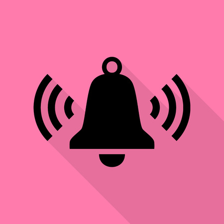 Ringing bell icon. Black icon with flat style shadow path on pink background. Illustration