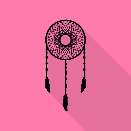 swelled: Dream catcher sign. Black icon with flat style shadow path on pink background.