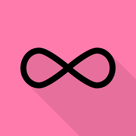 equation: Limitless symbol illustration. Black icon with flat style shadow path on pink background.