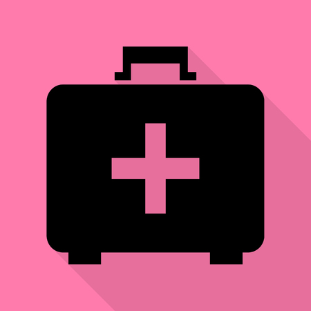 Medical First aid box sign. Black icon with flat style shadow path on pink background. Illustration