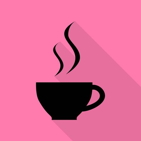 Cup of coffee sign. Black icon with flat style shadow path on pink background.