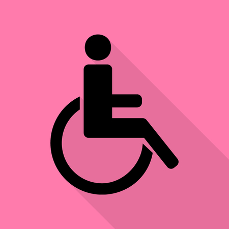 Disabled sign illustration. Black icon with flat style shadow path on pink background.