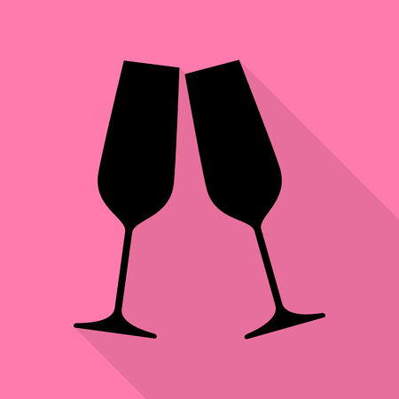 good friends: Sparkling champagne glasses. Black icon with flat style shadow path on pink background. Illustration