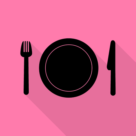 Fork, plate and knife. Black icon with flat style shadow path on pink background.